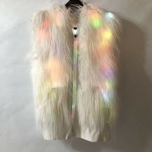 Iheartraves Lighted Women's Vest Small Faux Fur